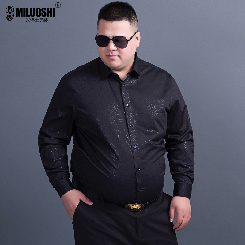 Extra large long sleeved shirt mens casual fattening oversized loose fat mans bottoming shirt trendy fat popular shirt
