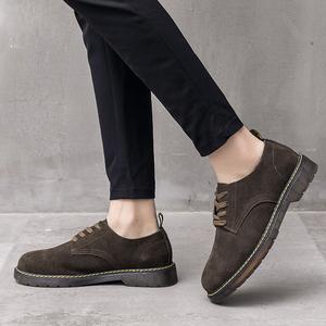 夏季马丁鞋男英伦真皮低帮休闲反绒皮男鞋韩版百搭复古工装短靴潮