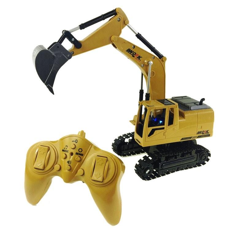 18新款奥海8通道遥控挖掘机工程车无线合金挖土机儿童男孩电动玩