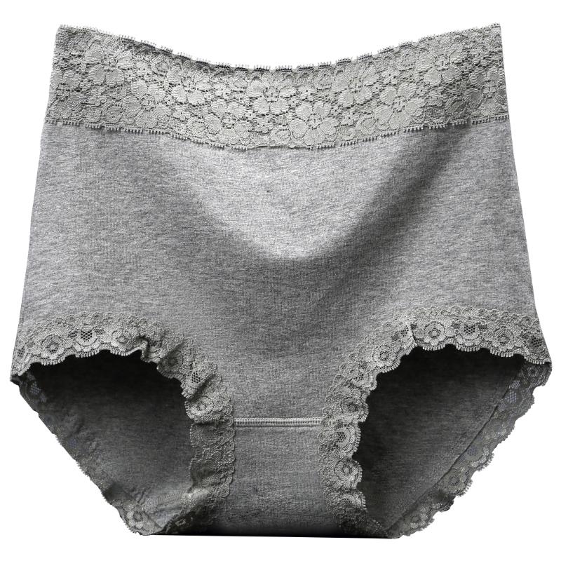 高腰内裤女纯棉收腹收小肚子提臀无痕棉质面料蕾丝边大码三角裤头