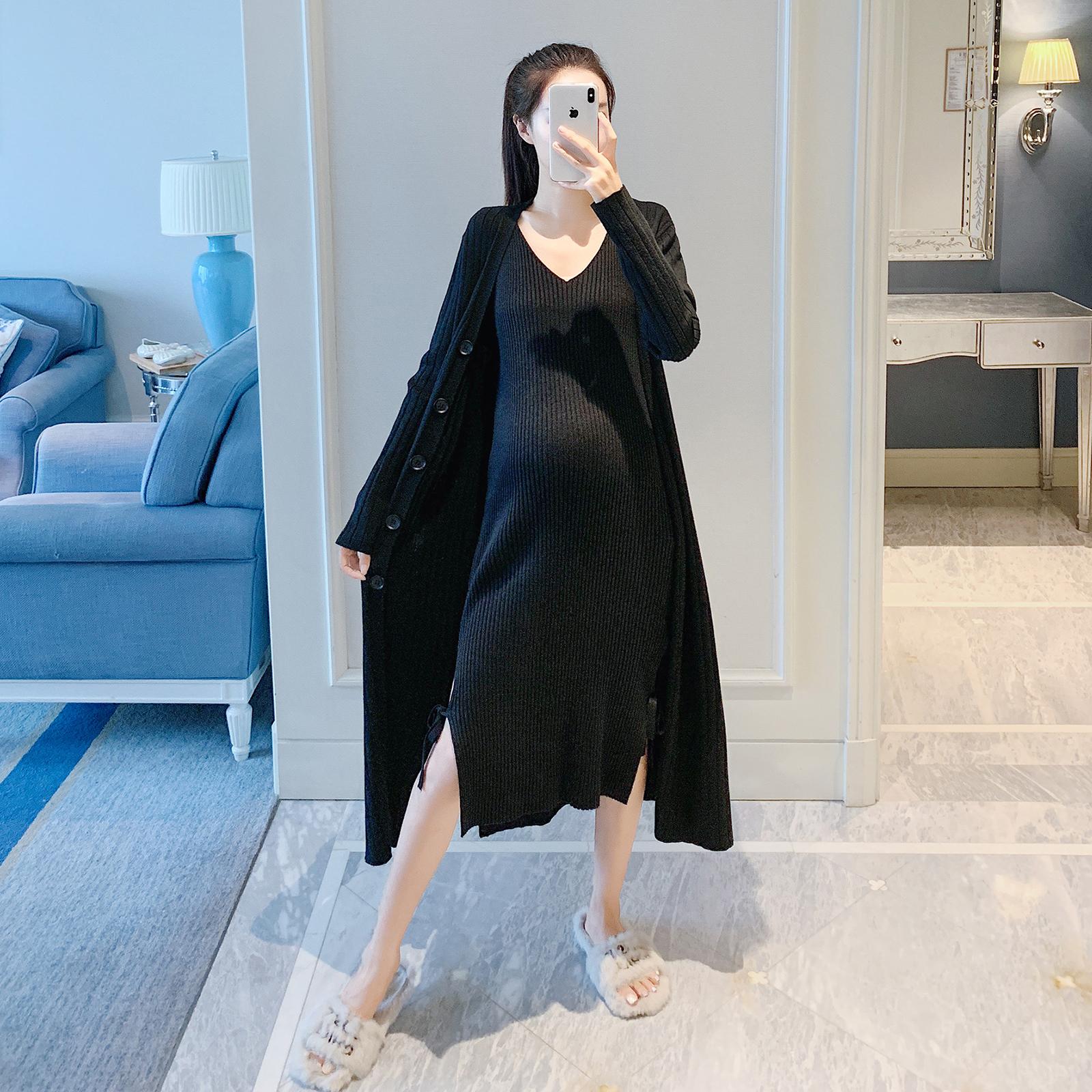 正品保证孕妇装秋款针织长款开衫背心裙