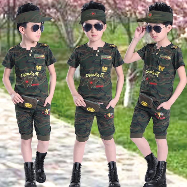 兒童短袖迷彩服套裝 男童夏裝迷彩服裝 女童 迷彩中大小童軍裝