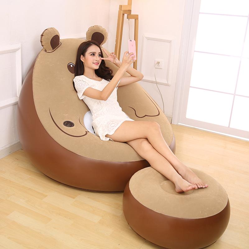 卡通小熊单人充气沙发卧室日式懒人沙发床榻榻米小沙发午休沙发椅