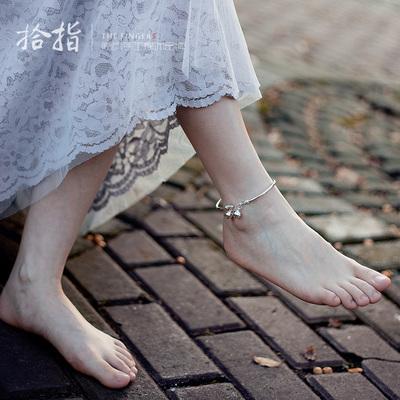 银脚链带铃铛999足银脚环纯银脚镯甜美复古文艺宫铃首饰品送女友