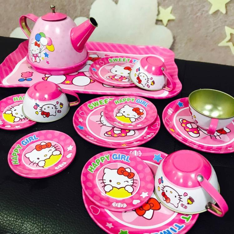 儿童卡通过家家仿真下午茶具套装男女孩不锈钢迷你茶水壶水杯玩具