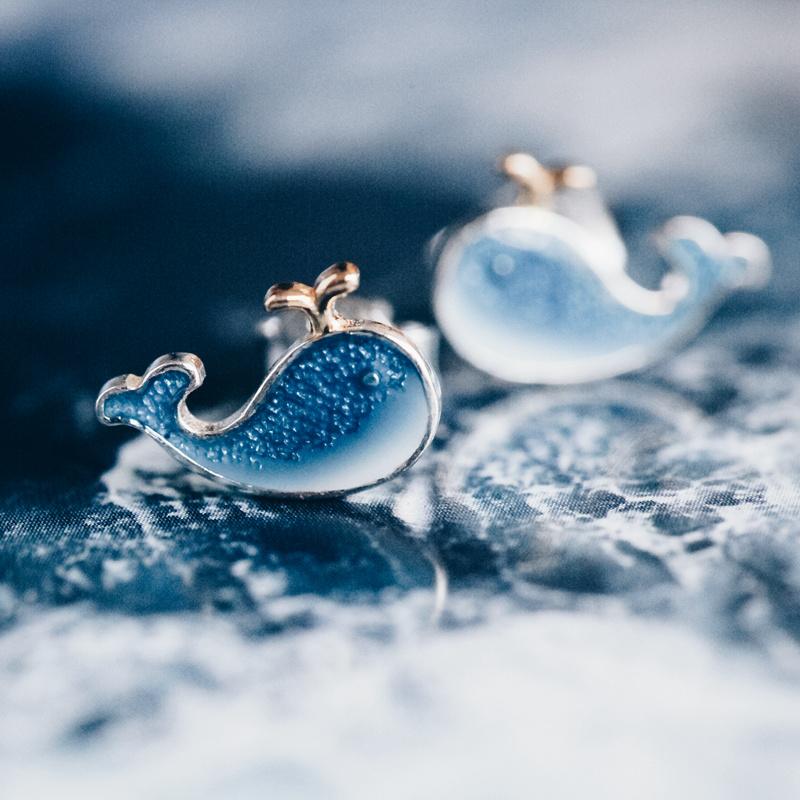 鯨魚耳釘女款純銀飾品可愛耳飾耳環夏天清新百搭氣質2020年新潮款