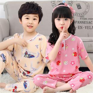 夏季兒童睡衣綿綢短袖長褲套裝男童女童小孩子寶寶棉綢空調家居服