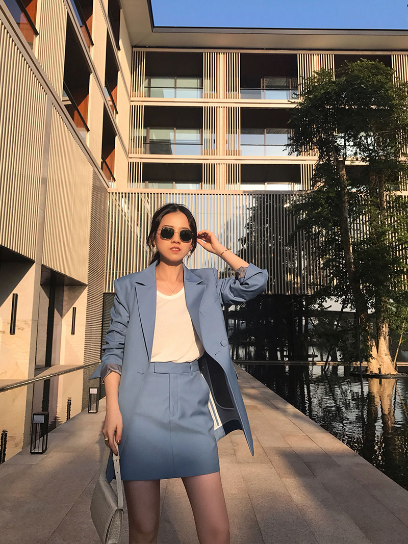 indeal定制 2019秋季新品简约OL日常经典半裙小西装套装短裙女