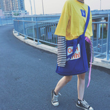 Korea Harajuku ulzzang canvas shoulder bag female large capacity Messenger bag wild simple student large bag tide