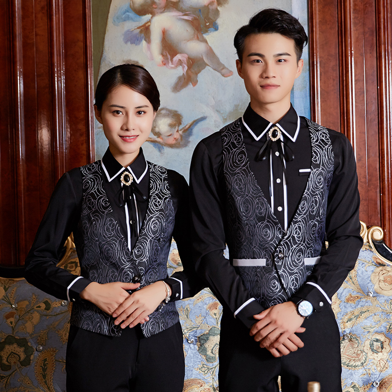 Long Lier bar KTV workwear night show hotel attendant workwear long sleeve mens and womens autumn and winter vest