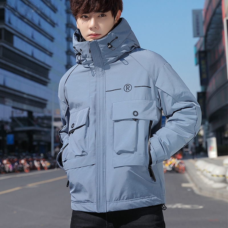 2020 new winter down jacket mens work clothes thickened warm Korean white duck down casual coat short student trend