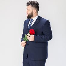 加大码西服套装男新郎服装结婚礼服男西装套装弹力宽松版胖子西装