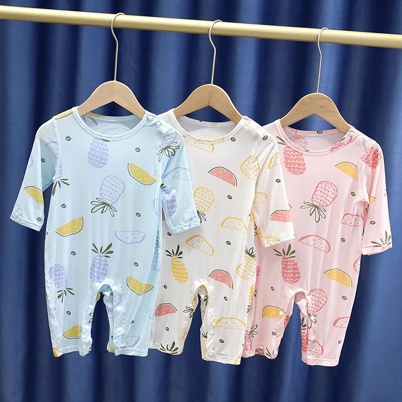 中國代購|中國批發-ibuy99|家居服男|婴儿连体衣夏季薄款莫代尔男女宝宝空调服家居外出哈衣爬服睡衣长