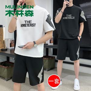 木林森男士夏季套装圆领T恤休闲短裤五分裤两件组合装潮男装时尚T