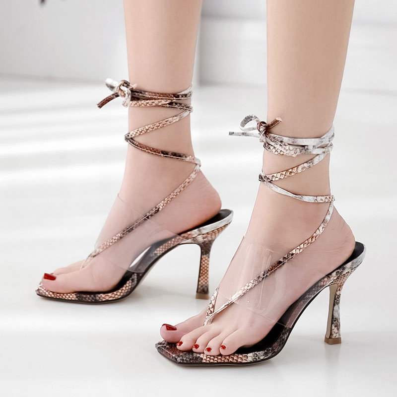 Women sandals quick sale new Europe and America transparent clip toe large ankle strap high heel sandals women