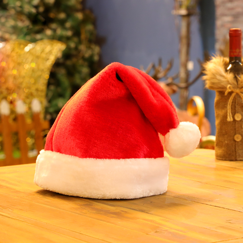 Christmas hat clothes decorations childrens womens coat headband thickened velvet Plush Hat Santa Claus hat