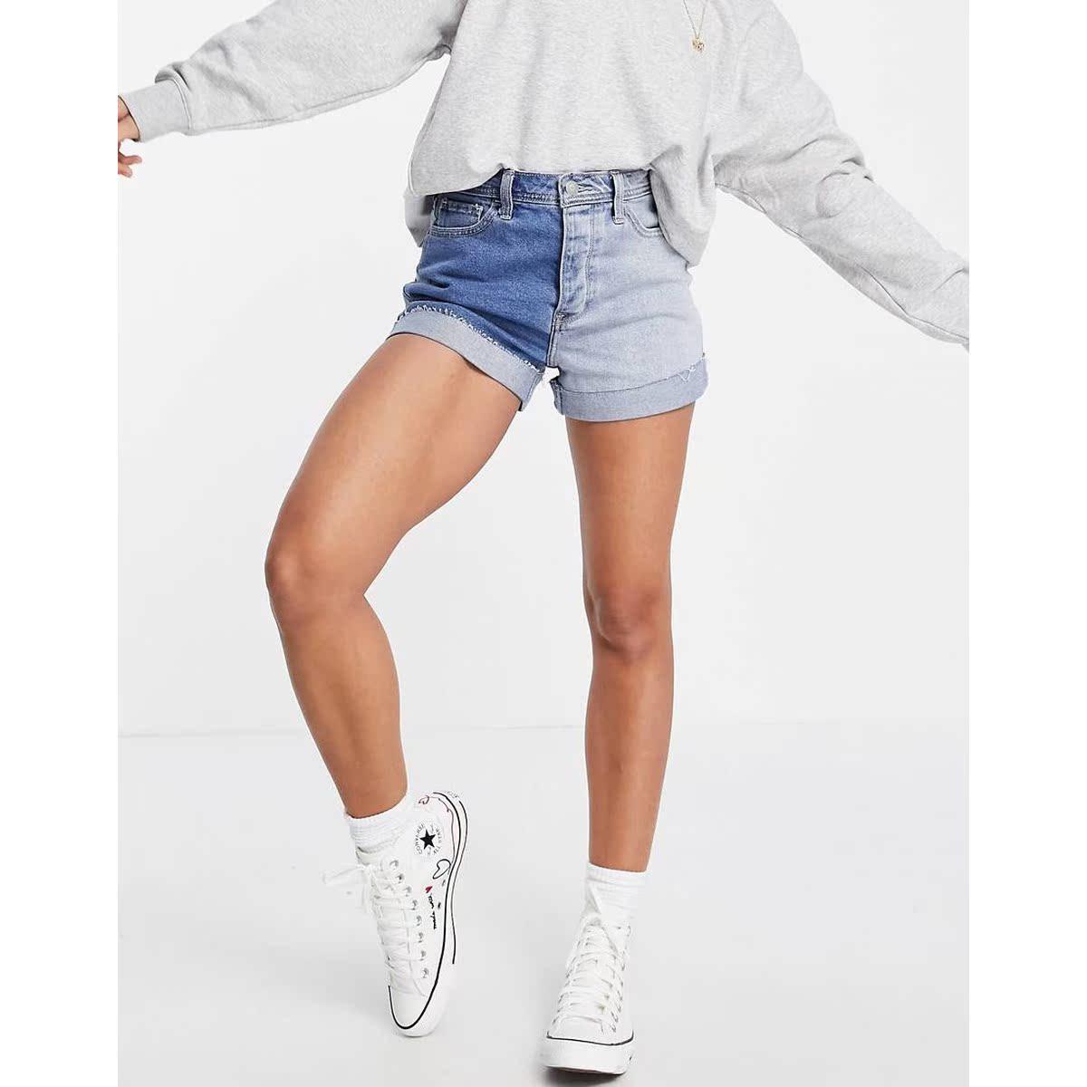 包税代购Hollister/霍利斯特 撞色水洗中长蓝色短裤2021新款个性