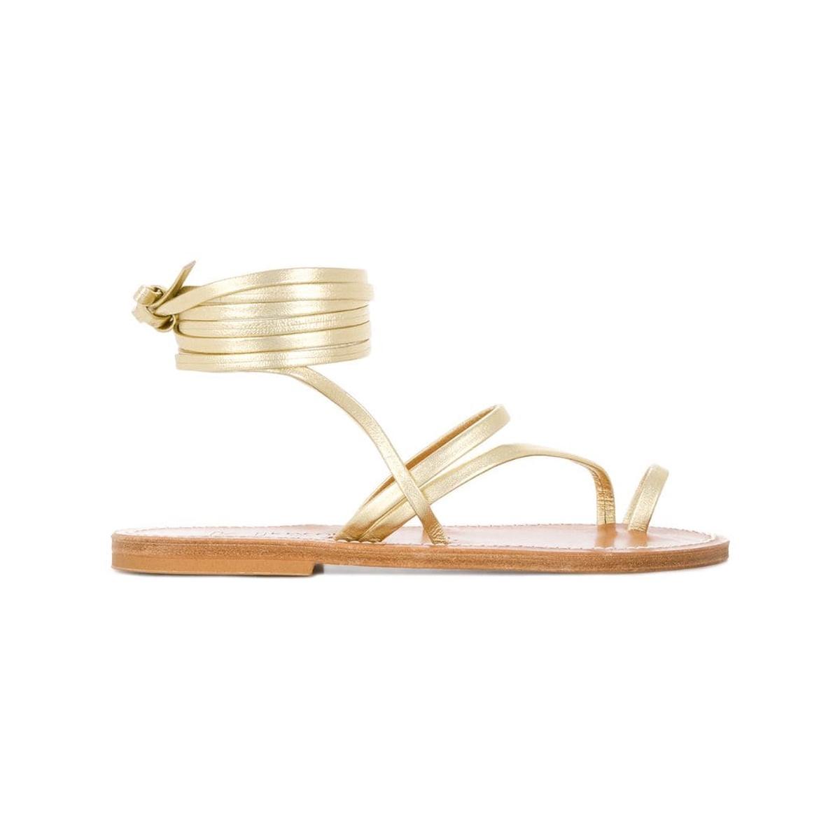 代购K Jacques 踝带牛皮凉鞋女2021新款奢侈品舒适透气简单时尚