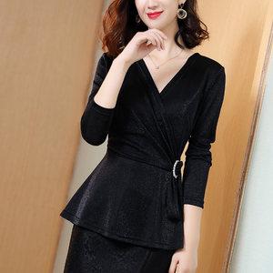 金凯茜长袖t恤女2020春秋新款修身显瘦亮丝气质成熟性感V领打底衫