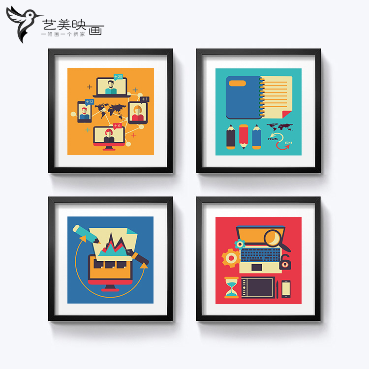 [distance education] teaching and training center school corridor office classroom decoration picture hanging computer