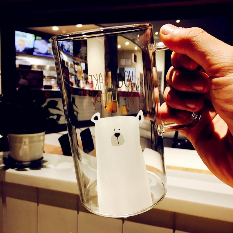 简约创意大容量玻璃杯耐热水杯子清新办公室情侣马克杯带盖勺吸管