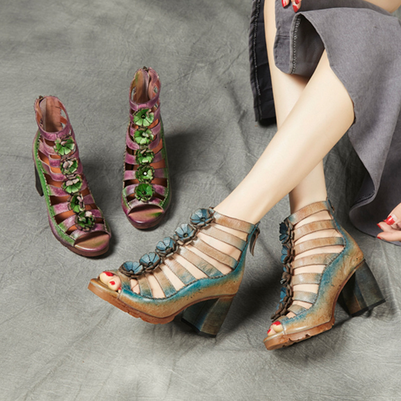 2019 creative knitting high heel shoes womens Retro cowhide national style slope heel shoes flower fish mouth THICK HEEL SANDALS