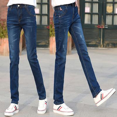 加长牛仔裤女高个子直筒裤高腰弹力宽松显瘦长裤有加绒加长版175