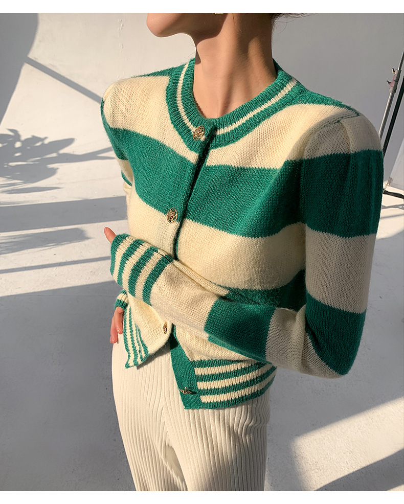DC independent brand striped slim sweater mohair wool blended simple slim Short Knitwear top
