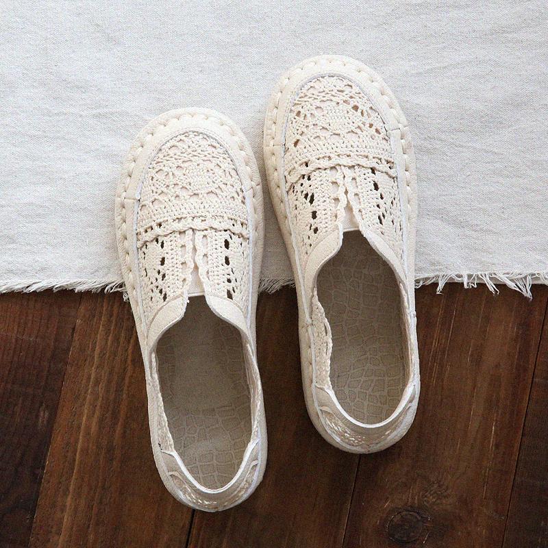 满79元可用3元优惠券森女文艺复古镂空圆头平底网鞋夏季手工舒适软底百搭渔夫鞋女凉鞋