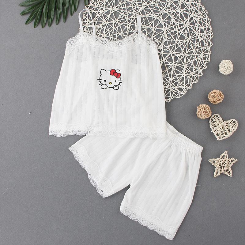 女童睡衣夏季薄款蕾丝边吊带两件套装纯棉宝宝中大童可爱家居服