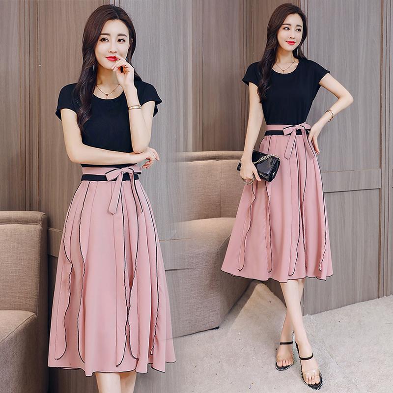 女士连衣裙2018新款女装夏季收腰显瘦气质拼接裙子夏天假两件套裙