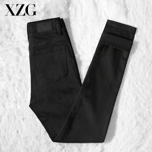 纯黑色2021年春秋新款弹力小脚裤子