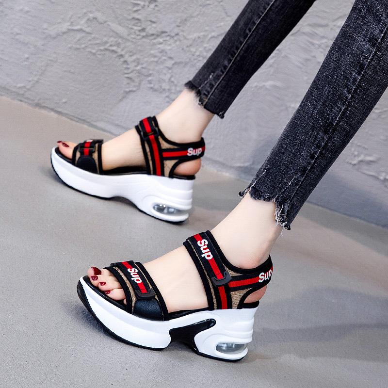 运动凉鞋女2020夏季新款内增高百搭坡跟厚底网红高跟ins潮罗马鞋