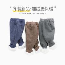 宝宝加绒裤子1-2岁婴儿长裤秋冬男小童冬季儿童加厚冬装3男童冬裤
