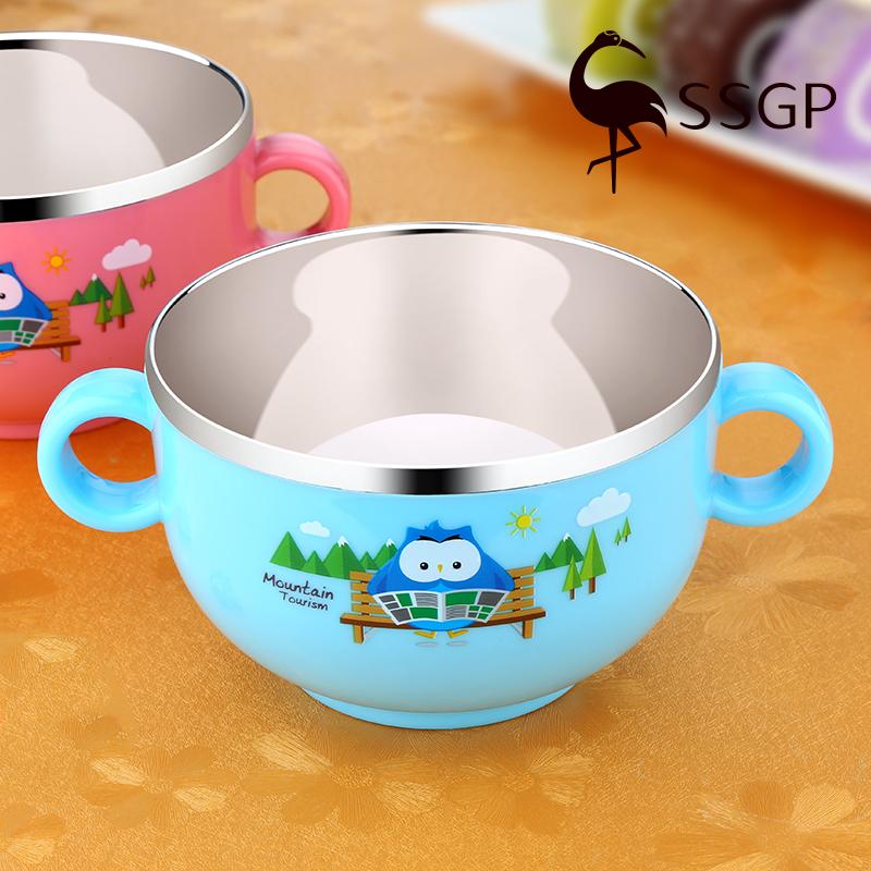 SSGP 304不鏽鋼碗兒童碗防摔家用吃飯防燙飯碗卡通可愛雙耳碗帶蓋