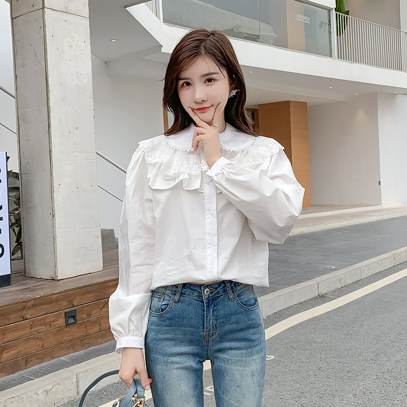 Versatile foreign style white shirt 2020 spring and Autumn New Korean double layer doll collar mesh splicing long sleeve shirt woman