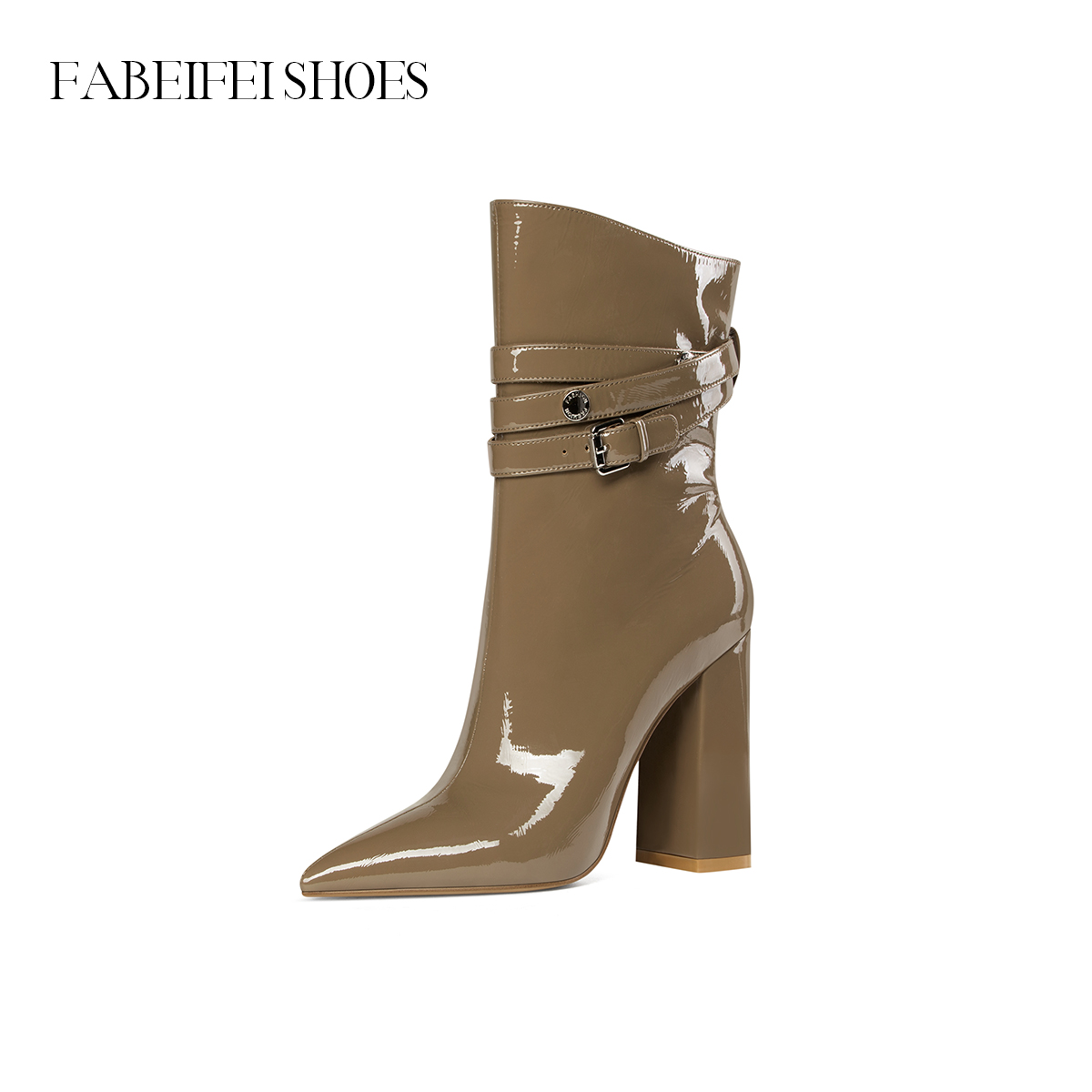 Fabe Fei 2020 autumn and winter new short boots women European and American fashion pointed high heel short boots patent leather thick heel women boots