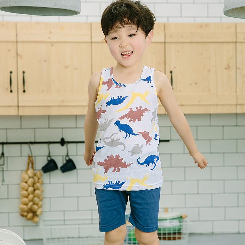 小啊啊夏季新款儿童纯棉背心套装男童透气睡衣夏款韩版舒适居家服