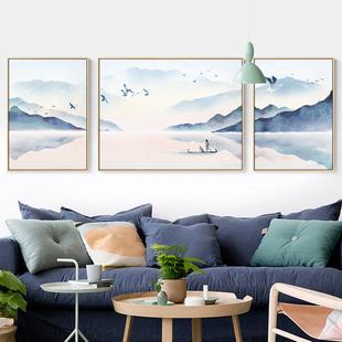 水墨靠山客厅装饰画风水新中式招财山水沙发背景中国风三联画墙画
