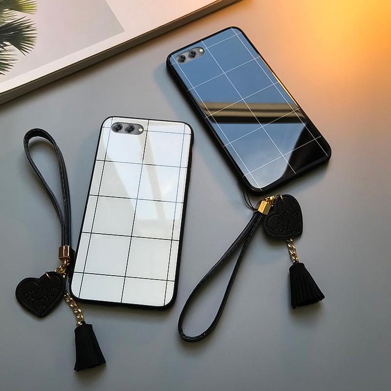 华为nova2s手机壳玻璃格子华为nova3e保护套挂绳流苏新款nova2plus简约情侣白色nova2全包防摔个性创意男女款