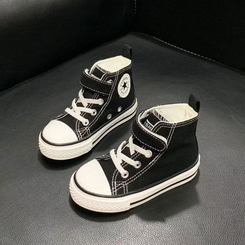 Feila baby canvas shoes high top 1-6 years old spring and autumn adhesive button boys shoes versatile girls Board Shoes