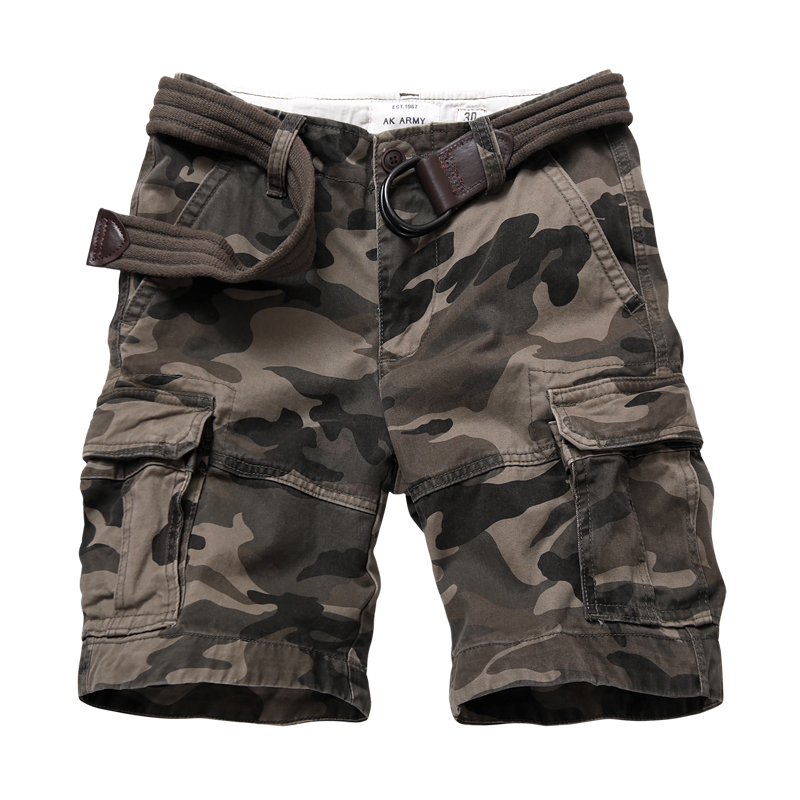 AK army European and American camouflage shorts mens summer loose straight Capris outdoor Multi Pocket tooling casual pants