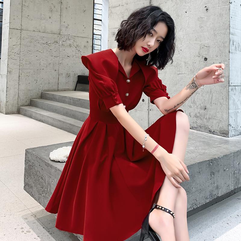 结婚敬酒服新娘2020新款酒红色平时可穿订婚连衣裙夏季大气小个子