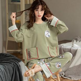 睡衣女士春秋款纯棉长袖秋冬季全棉韩版可爱学生可外穿家居服套装品牌