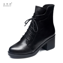 Martin Boots and Girls 2019 New Rough-heeled Tie Shoes, Spring and Autumn Single Boots, Middle-heeled Leather Shoes, Spring and Baitie Women's Shoes