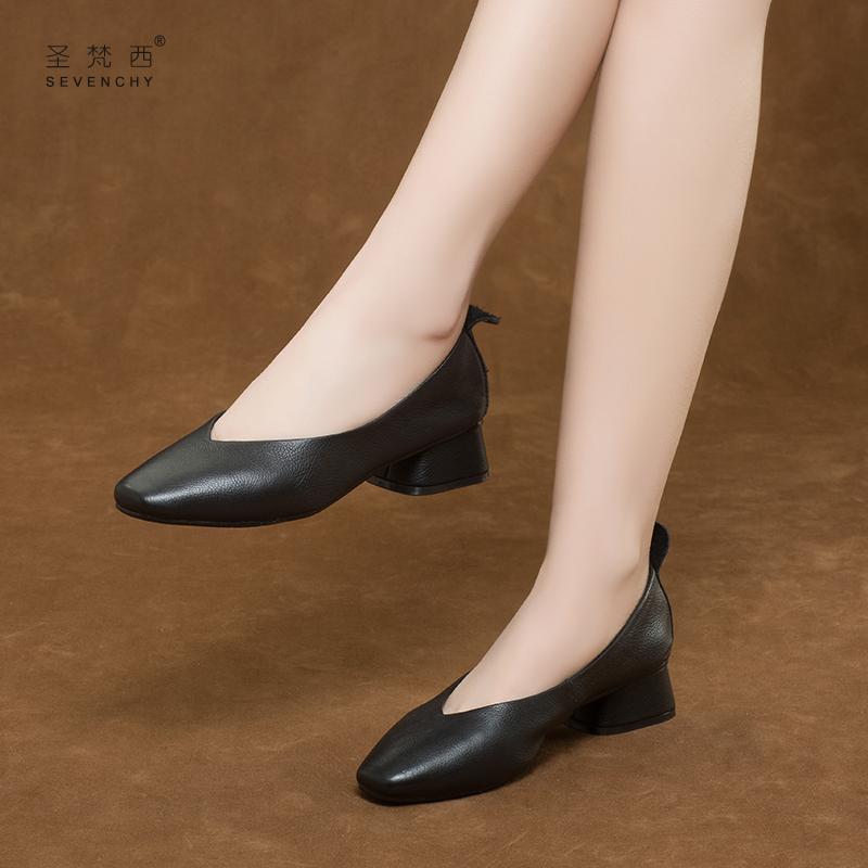 方头奶奶鞋2019新款夏季浅口粗跟单鞋女中跟真皮鞋夏款百搭四季鞋