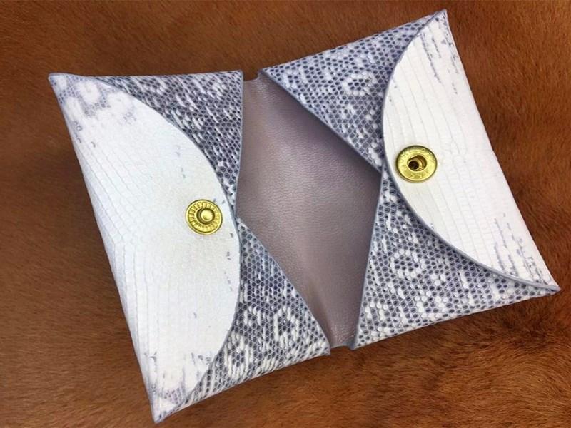 Handmade leather goods custom-made h family Epsom original flower lizard zero wallet envelope double side business card folder with button fold