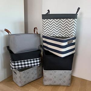 3件免邮——纯黑色布艺桌面收纳盒儿童玩具收纳筐杂物衣柜整理筐