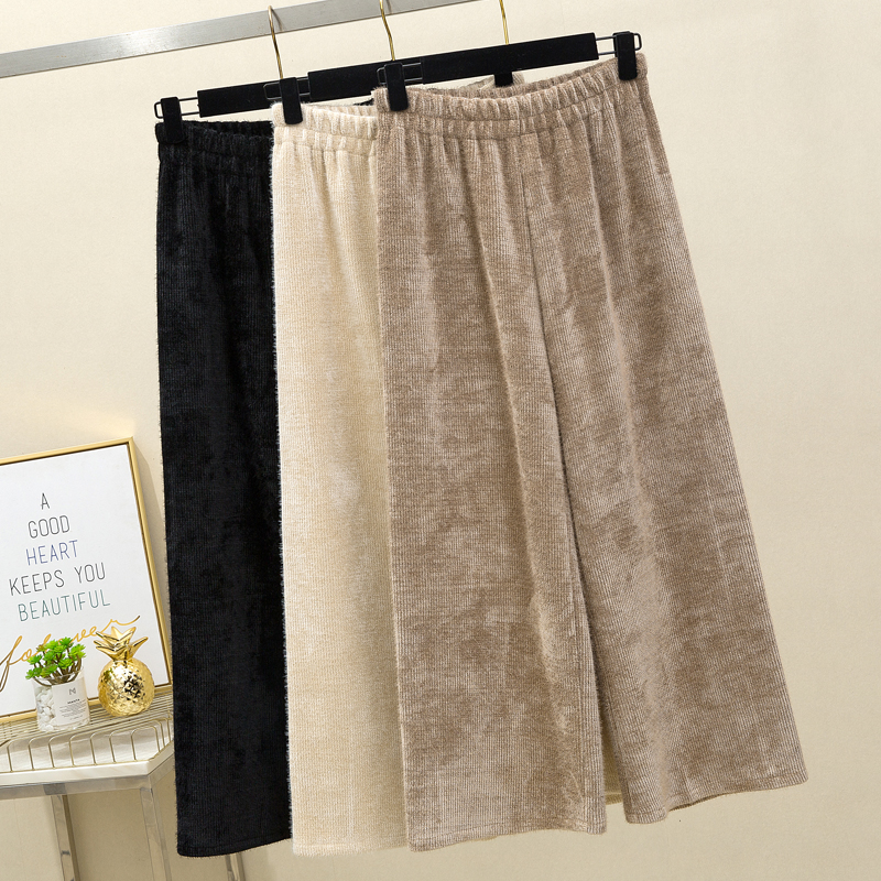 Thickened mink knitted wide leg pants womens autumn and winter new Korean loose straight tube high waist casual Capris