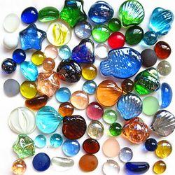 包邮彩色玻璃珠扁珠石头鱼缸装饰海草造景玻璃球水草水晶弹球造景